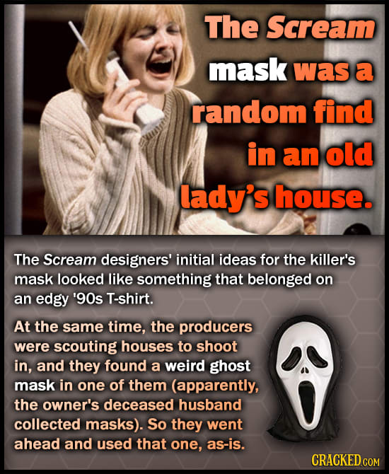 The Scream mask was a random find in an old lady's house. The Scream designers' initial ideas for the killer's mask looked like something that belonge