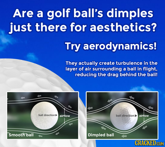 Are a golf ball's dimples just there for aesthetics? Try aerodynamics! They actually create turbulence in the layer of air surrounding a ball in fligh