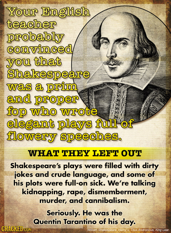 Your English teacher probably convinced you that Shakespeare was a prim and proper fop who wrote elegant plays full of flowery speeches. WHAT THEY LEF