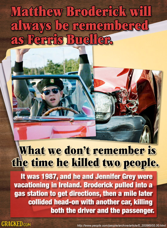 Matthew Broderick will always be remembered as Ferris Bueller. What we don't remember is the time he killed two people. It was 1987, and he and Jennif