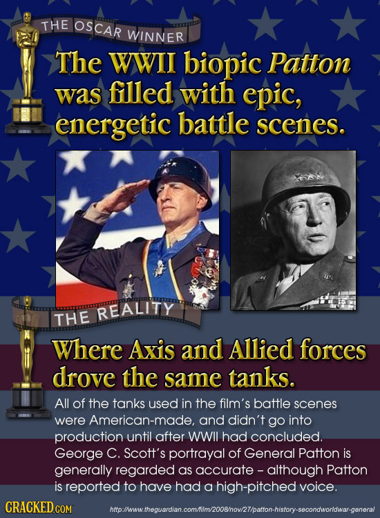 THE OSCAR WINNER The WWII biopic Patton was filled with epic, energetic battle scenes. REALITY THE Where Axis and Allied forces drove the same tanks.