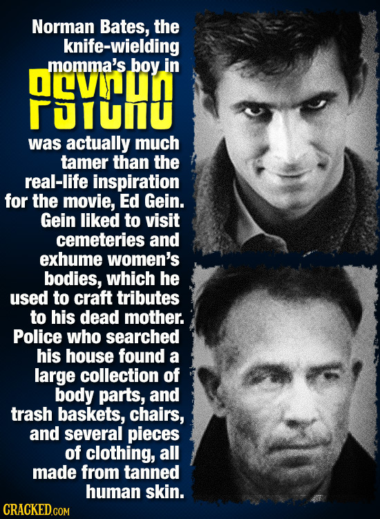 Norman Bates, the knife-wielding OEVD momma's boy in olunu was actually much tamer than the real-life inspiration for the movie, Ed Gein. Gein liked t