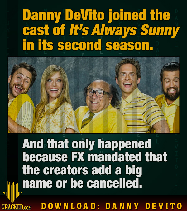 Danny DeVito joined the cast of It's Always Sunny in its second season. And that only happened because FX mandated that the creators add a big name or