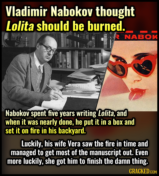 Vladimir Nabokov thought Lolita should be burned. NABOK Nabokov spent five years writing Lolita, and when it was nearly done, he put it in a box and s