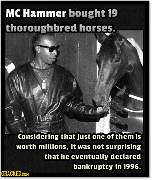 MC Hammer bought 19 thoroughbred horses. Considering that just one of them is worth millions, it was not surprising that he eventually declared bankru