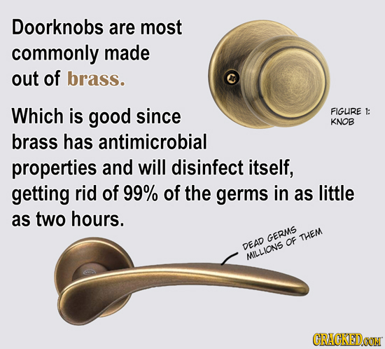 Doorknobs are most commonly made out of brass. Which is good since FIGURE 1: KNOB brass has antimicrobial properties and will disinfect itself, gettin