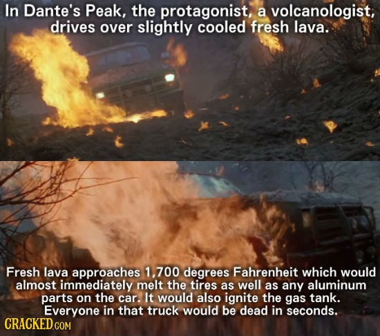 In Dante's Peak, the protagonist, a volcanologist, drives over slightly cooled fresh lava. Fresh lava approaches 1, 700 degrees Fahrenheit which would