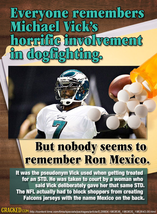 Everyone remembers Michael Vick's horrific involvement in dogfightingo 7 But nobody seems to remember Ron Mexico. IT was the pseudonym Vick used when