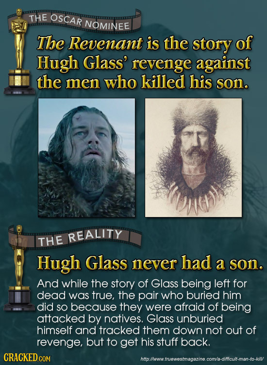 THE OSCAR NOMINEE The Revenant is the story of Hugh Glass' revenge against the men who killed his son. REALITY THE Hugh Glass never had a son. And whi