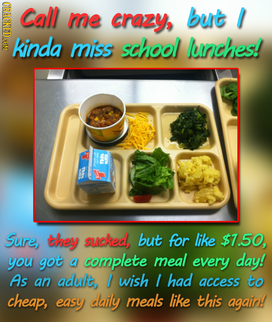 CRAGKEDCOM Call me crazy, but I kinda miss school lunches! NOLS S Sure, they sucked, but for like $7.50, you got a complete meal every day! As an adul