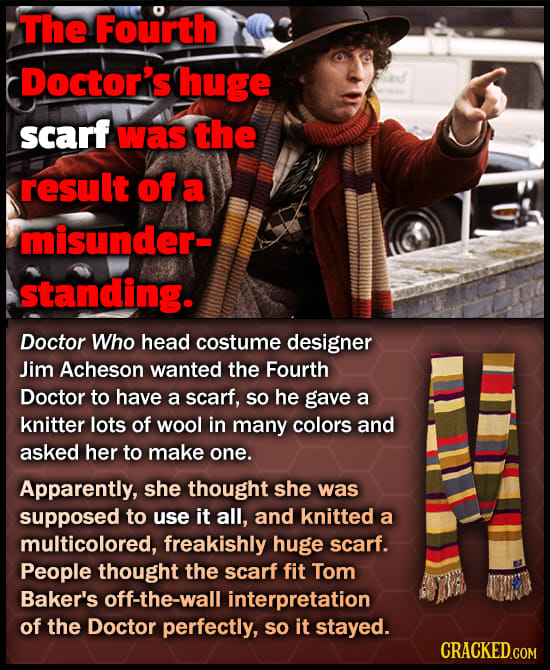 The Fourth Doctor's huge scarf was the result of a misunder- standing. Doctor Who head costume designer Jim Acheson wanted the Fourth Doctor to have a