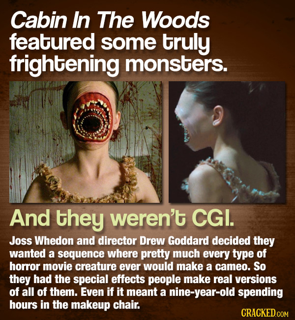 Cabin In The Woods featured some truly frightening monsters. And they weren't CGI. Joss Whedon and director Drew Goddard decided they wanted a sequenc