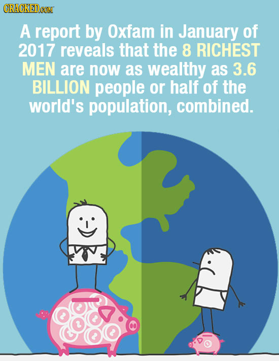CRAGKEDCOM A report by Oxfam in January of 2017 reveals that the 8 RICHEST MEN are now as wealthy as 3.6 BILLION people or half of the world's populat