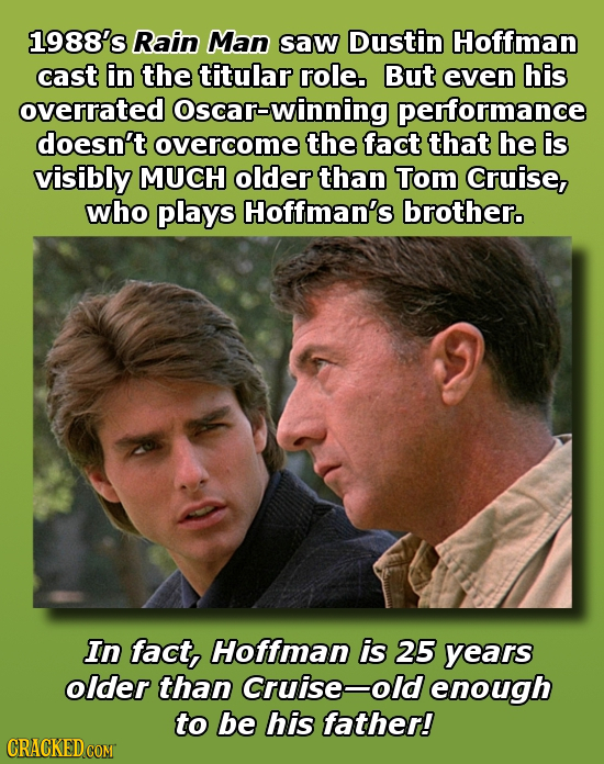 1988's Rain Man saw Dustin Hoffman cast in the titular role. But even his overrated oscar-winning performance doesn't overcome the fact that he is vis