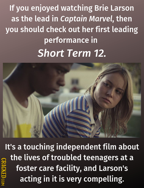 If you enjoyed watching Brie Larson as the lead in Captain Marvel, then you should check out her first leading performance in Short Term 12. It's a to