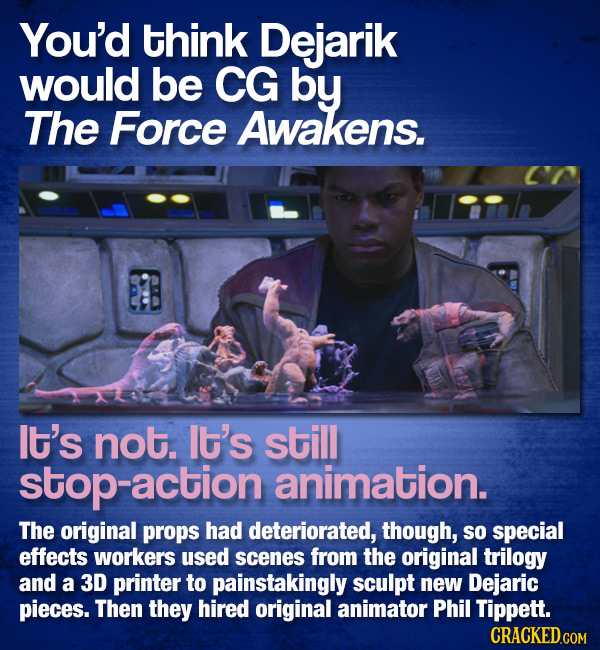 You'd think Dejarik would be CG by The Force Awakens. It's not. It's still stop-action animation. The original props had deteriorated, though, SO spec