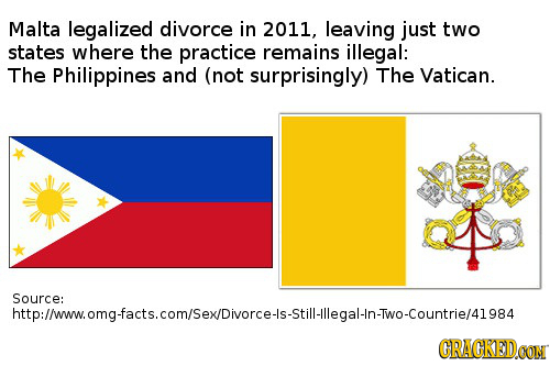 Malta legalized divorce in 2011, leaving just two states where the practice remains illegal: The Philippines and (not surprisingly) The Vatican. Sourc