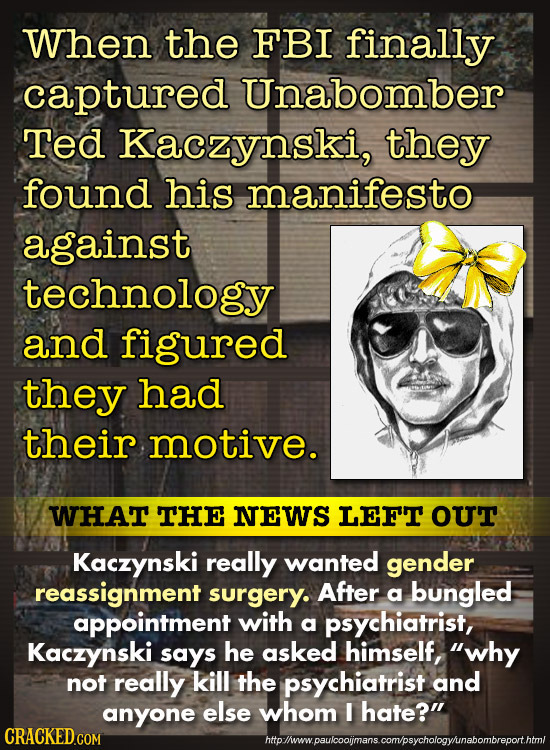 When the FBI finally captured Unabomber Ted Kaczynski, they found his manifesto against technology and figured they had their motive. WHAT THE NEWS LE