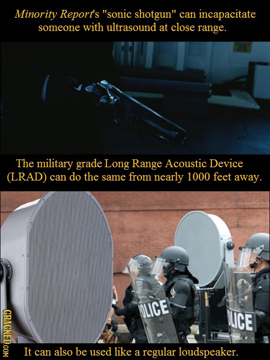 Minority Report's sonic shotgun can incapacitate someone with ultrasound at close range. The military grade Long Range Acoustic Device (LRAD) can do