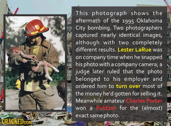 This photograph shows the aftermath of the 1995 Oklahoma City bombing. Two photographers captured nearly identical images, although with two completel