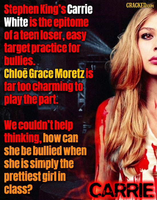 Stephen King's Carrie CRACKED COM White is the epitome of a teen loser, easy target practice for bullies. Chloe Grace Moretz is far too Charming to pl