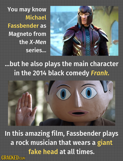 You may know Michael Fassbender as Magneto from the X-Men series... ...but he also plays the main character in the 2014 black comedy Frank. In this am