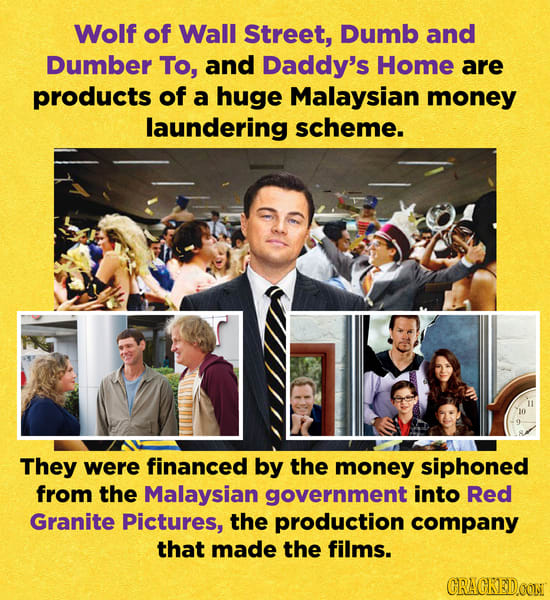 Wolf of Wall Street, Dumb and Dumber To, and Daddy's Home are products of a huge Malaysian money laundering scheme. They were financed by the money si