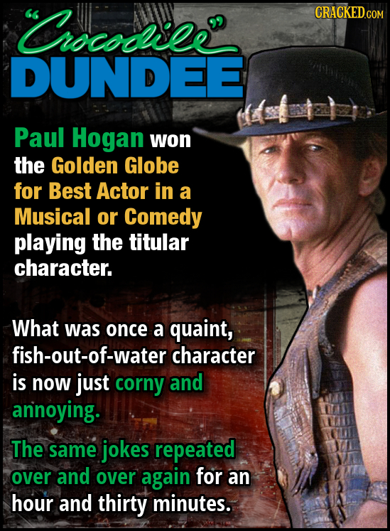 Crocodiee' CRACKEDCOR DUNDEE Paul Hogan won the Golden Globe for Best Actor in a Musical or Comedy playing the titular character. What was once a quai