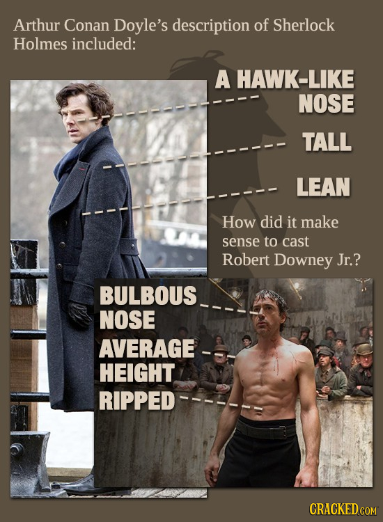 Arthur Conan Doyle's description of Sherlock Holmes included: A HAWK-LIKE NOSE TALL LEAN How did it make sense to cast Robert Downey Jr.? BULBOUS NOSE