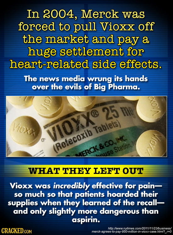 In 2004, Merck was forced to pull Vioxx off the market and pay a huge settlement for heart-related side effects. The news media wrung its hands over t