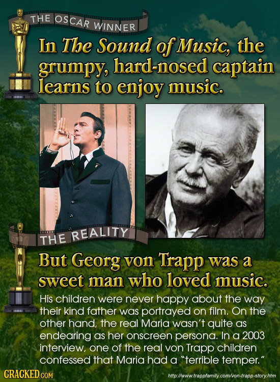 THE OSCAR WINNER In The Sound ofMusic, the grumpy, hard-nosed captain learns to enjoy music. REALITY THE But Georg von Trapp was a sweet man Who loved