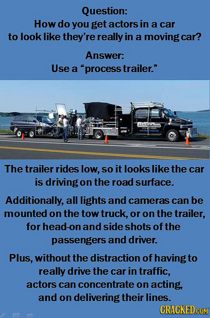 Question: How do you get actors in a car to look like they're really in a moving car? Answer: Use a process trailer. AFEIS The trailer rides low, so