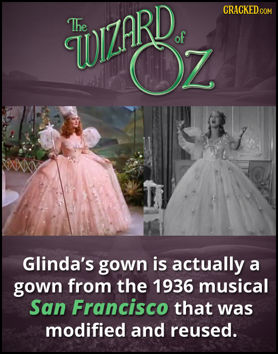 The WIZARD of Glinda's gown is actually a gown from the 1936 musical San Francisco that was modified and reused.