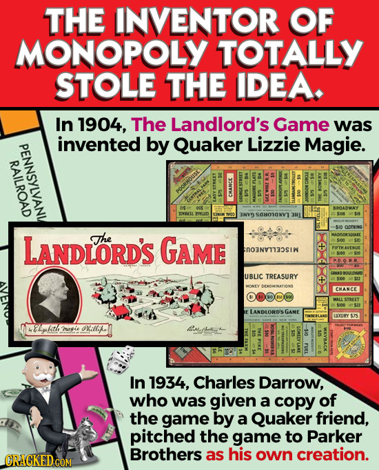 THE INVENTOR OF MONOPOLY TOTALLY STOLE THE IDEA. In 1904, The Landlord's Game was invented by Quaker Lizzie Magie. es POORHOUSE E CMA ROADWAY 31Y SOHO