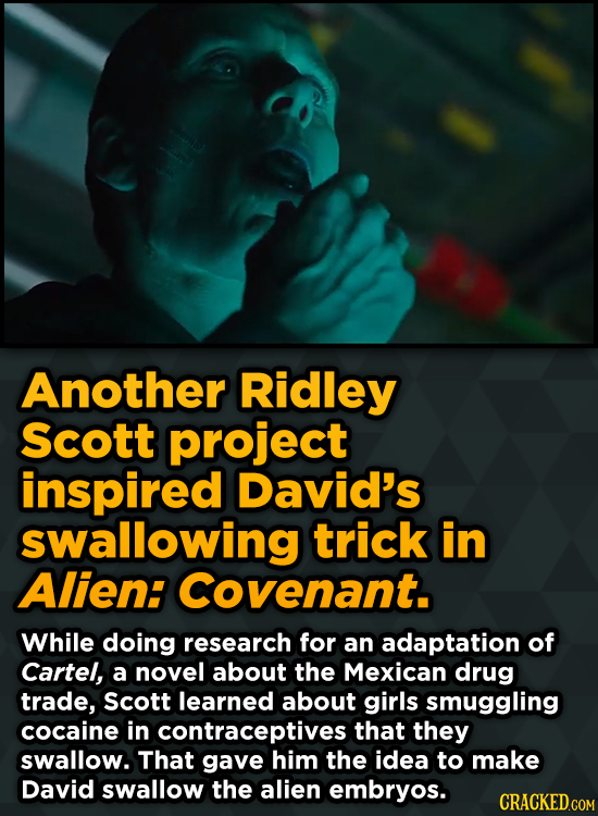 Unpredictably Weird Decisions That Gave Us Major Movie Moments - Another Ridley Scott project inspired David's swallowing trick in Alien: Covenant