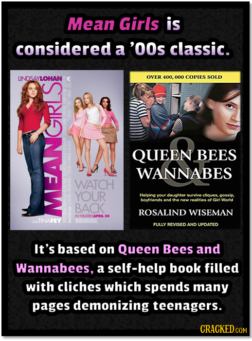 Mean Girls is considered a 'OOs classic. UNDSAYLOHAN OVER 400, 000 COPIES SOLD QUEEN BEES WANNABES WATCH YOUR Helpina your daughter survive cliques go