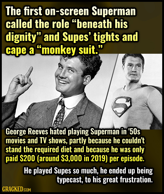 The first on-screen Superman called the role beneath his dignity and Supes' tights and cape a monkey suit. George ReeveS hated playing Superman in