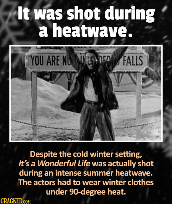 It was shot during a heatwave. YOU ARE N FALLS Despite the cold winter setting, It's a Wonderful Life was actually shot during an intense summer heatw