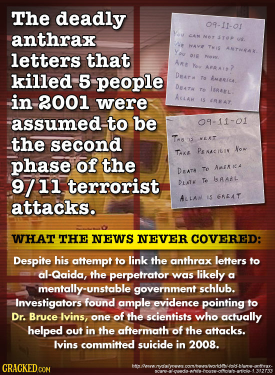 The deadly 09-11-01 anthrax YOU CAN NOT STOp us. We HAVE THIS letters that You ANTHRAX. DIE NoW. ARE You AFRAIO? killed 5 people DEAT N To Americh. DE
