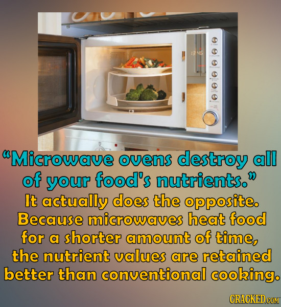 Microwave ovens destroy all of your food's nutrients. It actually does the opposite. Because microwaves heat food for a shorter amount of time, the