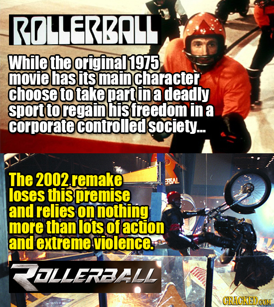 ROLLERBRL While the original 1975 movie has its main character choose to take part in a deadly sport to regain his freedom in a corporate controlled s