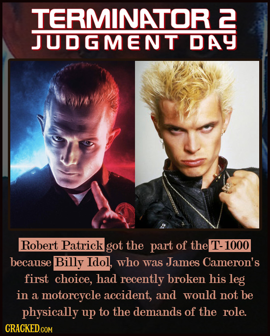 TERMINATOR 2 JUDGMENT DAY Robert Patrick got the part of the T-1000 because Billy Idol, who was James Cameron's first choice, had recently broken his