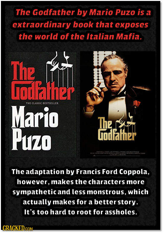 The Godfather by Mario Puzo is a extraordinary book that exposes the world of the Italian Mafia. The Godfalher Mario THE CLASSIC BESTSELLER The Puzo g