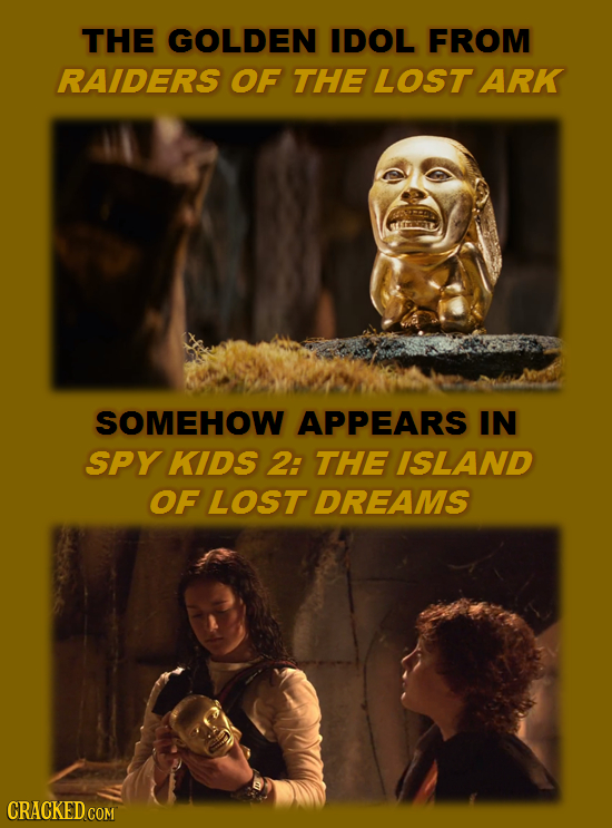 THE GOLDEN IDOL FROM RAIDERS OF THE LOST ARK SOMEHOW APPEARS IN SPY KIDS 2: THE ISLAND OF LOST DREAMS CRACKED COM