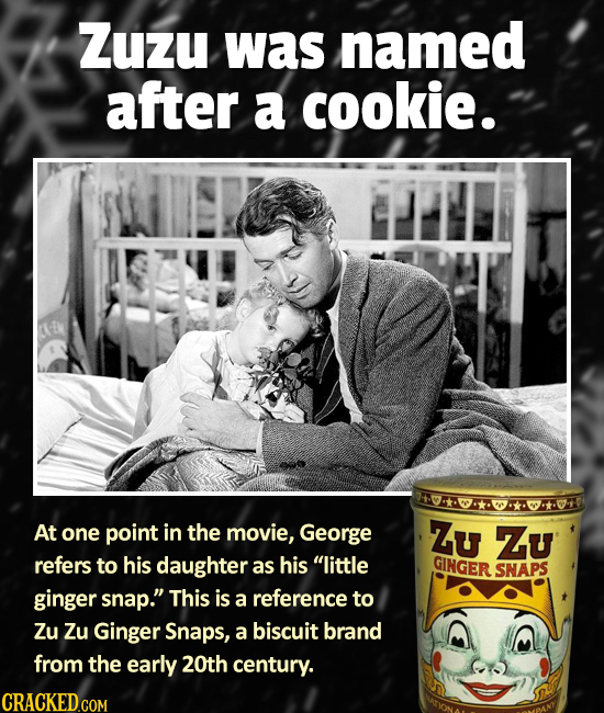 Zuzu was named after a cookie. A*KOTAO At one point in the movie, George Zu Zu refers to his daughter as his little GINGER SNAPS ginger snap. This i