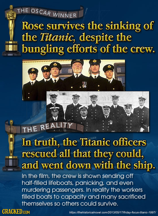 THE OSCAR WINNER Rose survives the sinking of the Titanic, despite the bungling efforts of the crew. REALITY THE In truth, the Titanic officers rescue