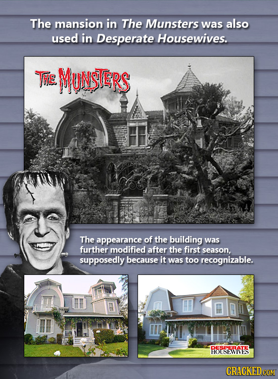 The mansion in The Munsters was also used in Desperate Housewives. THE MUNSTERS The appearance of the building was further modified after the first se