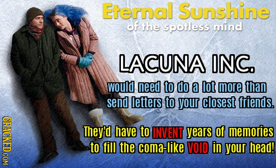 Eternal Sunshine of the spotless mind LACUNA ONC. would need to do a lot more than send letters to your closest friends. They'd have to INVENT years o