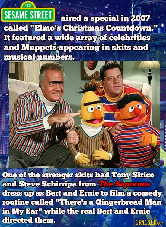 123 SESAME STREET aired a special in 2007 called Elmo's Christmas Countdown. It featured a wide array of celebrities and Muppets appearing in skits
