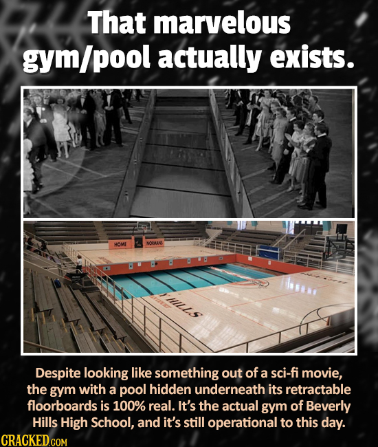 That marvelous gym/pool actually exists. NOVIN HOME tills Despite looking like something out of a sci-fi movie, the gym with a pool hidden underneath